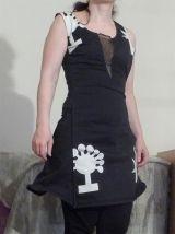 Robe En Coton Noir Avec Motifs Blancs- Xs- Biche De Bere