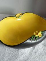 Coupe à fruits, saladier ou plat en céramique noire et jaune