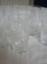 5 verres a orangeade en cristal taillé