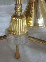 Lustre vintage en metal doré avec abat jours