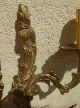 Anciennes Appliques Murales en laiton