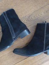 Bottines Low Boots En Daim Noir- Pointure 37- Elite