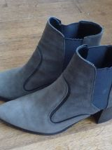 Bottines Low Boots En Daim Marron- Pointure 36- Zara