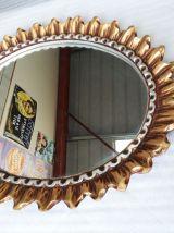 miroir ovale soleil  bois 1970