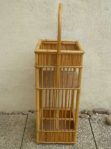 panier porte bouteille en bambou , vintage