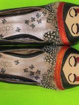 escarpins simili cuir noir à talons visage
