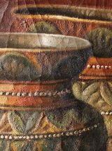 tableau peinture huile sur toile craquelée et signée fruits