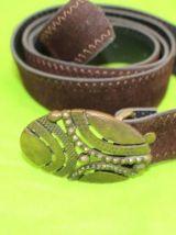 ceinture simili cuir effet daim marron