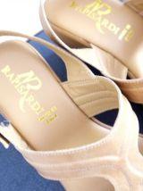 Sandale beige cuir italie Rapisardi compensé talon boucle