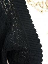 Gilet boléro cardigan laine broderie ajouré rétro