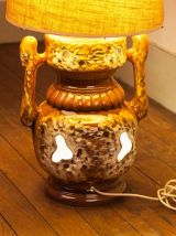 Lampe de sol Vintage, pied en céramique et abat jour tissu