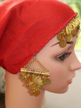 bandana foulard rouge avec pièce effet dore