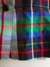 Chemisier peplum motif tartan épaules bouffantes vintage 50'