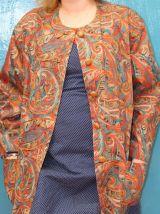 veste motif multicolore année 80 T44-46 vintage retro