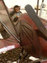 avion biplan en bois ,artisanal , vintage