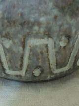 Vase soliflore en gres emaille gris bleu