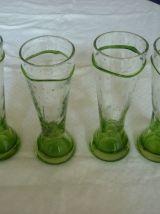 Lot de 4 verres haut avec bulles et pieds verts