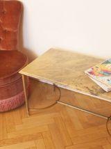 Table basse marbre rose et gris années 50/60