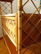 Etagère en bois, rotin et bambou vintage