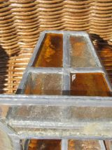 Petite lanterne en verre martelé et vitraux à électrifier, a