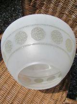 Globe en verre poli  et martelé pour lustre année 70 décor m