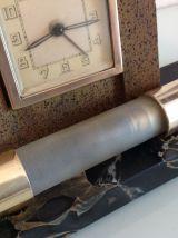 Lampe de chevet avec reveil sur socle marbre style art déco