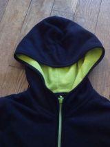 Sweat Zippé Capuche Noir/Vert- 11 Ans= 150cm- Uniqlo Kids