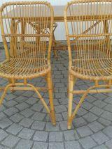 Ensemble table ,2 chaises et 2 tabourets  rotin