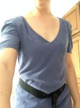Robe IKKS en soie bleu lavande T38 et sa ceinture