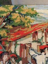 Grand canevas tapisserie Pays Basque années 50 60