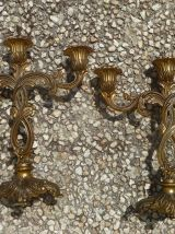 paire  de  chandelliers 3 branches,métal,vintage
