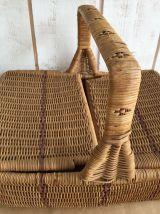 Ancien panier de  pique-nique en osier