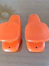 2 patères porte manteau SYLA en plastique orange années 70