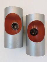 Applique double orange et gris Pierre Disderot  années 70