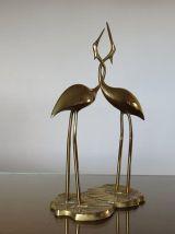 Grand couple de hérons enlacés Flamingo en laiton années 70