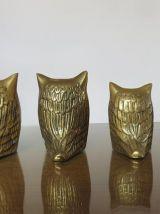 Famille de 4 hiboux chouettes en laiton années 70