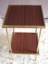 Table d'appoint métal doré et Formica