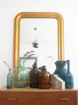 Grand miroir doré vintage Haussmannien Louis Philippe