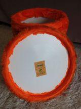 Tabouret / coffre – PELFRAN – «moumoute» Orange tonic