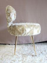 Chaise – PELFRAN – «moumoute» Blanc soyeux