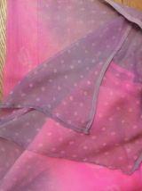 Grand Paréo / Foulard Rectangulaire Gris Et Rose Fuschia
