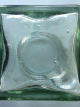 Grand bocal carré ancien en verre