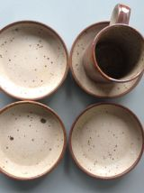 Service de 6 tasses à café et soucoupes en grès - Vintage