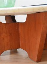 Table basse scandinave marbre et teck années 50