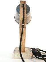 Lampe de chevet artisanale en bois et béton