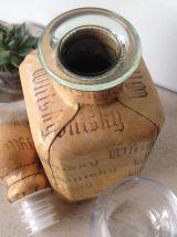 Carafe à whisky en verre, recouverte de cuir - Vintage
