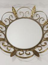 Miroir feuilles doré