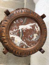 Sellette Art Nouveau avec marbre rose fin XIXème siècle