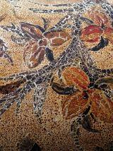 Corbeille à papier en métal peint, motifs fleurs et oiseaux