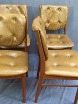 Suite de 4 chaises scandinave en teck et skaï